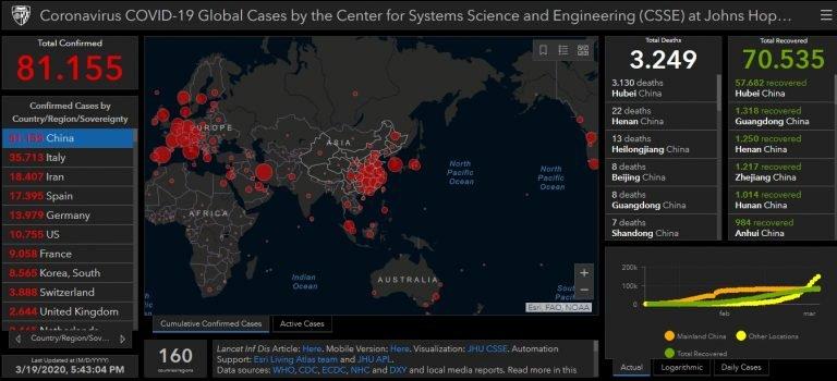 Mappa aggiornata mondiale Covid-19