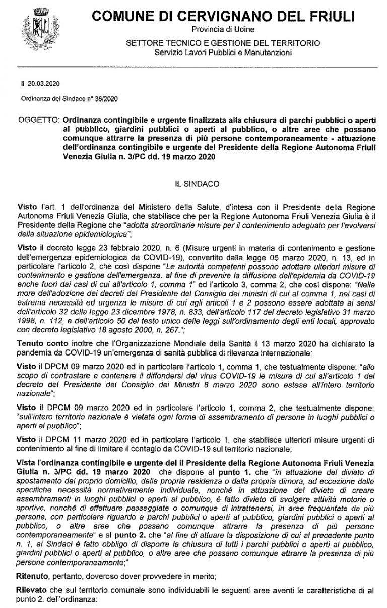Ordinanza del Sindaco di Cervignano del Friuli Gianluigi Savino n.36 del 20 marzo 2020