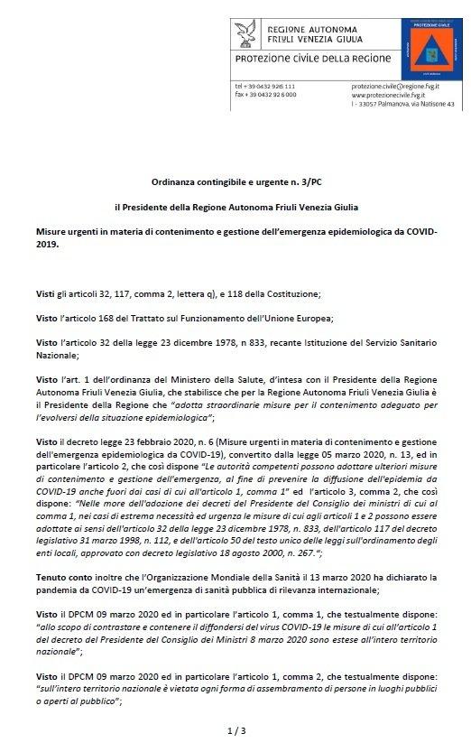 Ordinanza contingibile e urgente n. 3/PC il Presidente della Regione Autonoma Friuli Venezia Giulia