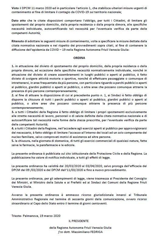 Ordinanza n.3 Presidente Regione FVG - 2