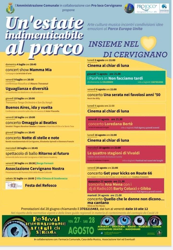 Serate al Parco Europa Unita a Cervignano del Friuli